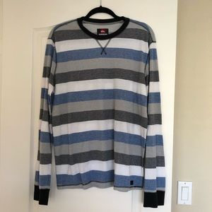 Men's Quicksilver Striped Sweater, Waffle Shirt